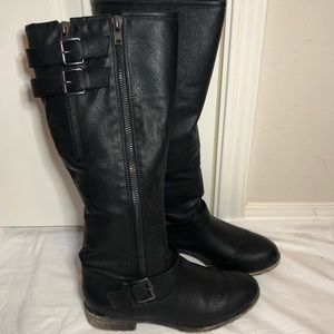 Madden Girl black tall zip-up boots